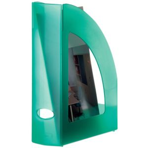 Revistero Plastico 80mm Traslucido Verde