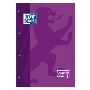 Recambio Oxford School Color 1 Encolado A4 80h 90gr 4 Taladros Cuadric.5x5 Morado (1 Color De Recuadro)
