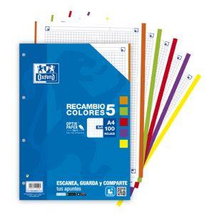 Recambio Oxford School A4 100h 90gr 4 Taladros Cuadric.5x5 Azul (5 Colores En Banda)