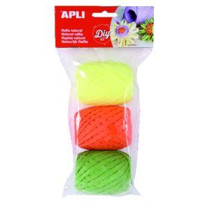 Rafia Apli Natural 30 M Colores Fluor Bolsa De 3