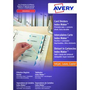 Separadores Avery Index Marker Cartulina Blanca A4 12 Pestañas Sin Taladros Inkjet/Laser Personalizables
