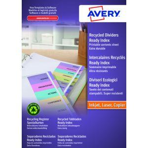 Separadores Avery Ready Index Cartulina Colores Surtidos A4 12 Pestañas 9 Taladros Inkjet/Laser Personalizables