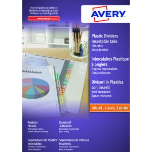 Separadores Avery Pvc Colores Traslucidos Surtidos A4 6 Pestañas 9 Taladros Inkjet/Laser Personalizables