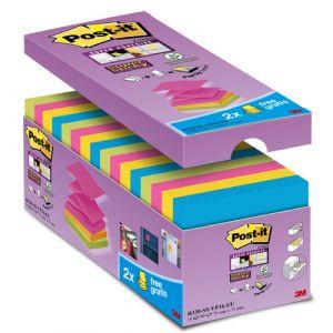 Notas Adhesivas Post-It 90h Z Notes  76x76 (R330) Super Sticky Colores Surtidos Pack De 16 (14+2)
