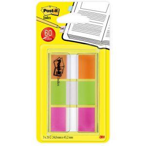 """Banderitas Adhesivas Post-It 680 (1"""") Pack De 3 (Verde-Naranja-Rosa)"""