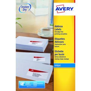 Etiquetas Adh.Impr.Avery A4 Blanca C.Romos Inkjet Caja 25h 63 5x46 6 Mm 450 Uds.(J8161)