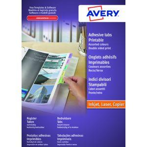Etiquetas Adh.Impr.Avery A4 Indices Colores Surtidos Inkjet/Laser Caja 4h 33x13 Mm 96 Uds.(05412501)