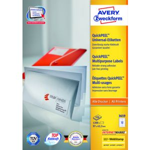 Etiquetas Adh.Impr.Avery A4 Blanca C.Rectos Caja 100h  97x42 3 Mm 1.200 Uds.(3659)