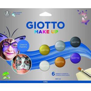 Estuche 6 botes 5ml pintura facial cosmetica colores surtidos + pincel cosmético y esponja.