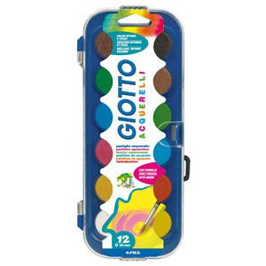 Estuche plastico 12 acuarelas + pincel giotto colores surtidos