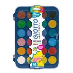 Estuche plastico 24 acuarelas + pincel giotto colores surtidos