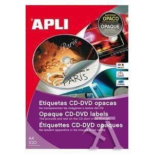 C/300 ETIQUETAS BLANCAS CD-DVD DORSO OPACO (100 HOJAS)