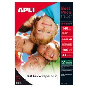Paquete a4 100h 140g papel fotografico best price apli glossy