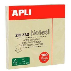 Bloc 100 notas adhesivas zigzag amarillas 75x75mm Apli