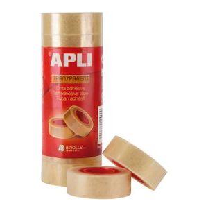 Paq/8 rollos cinta adhesiva 33mmx19mm transparente apli