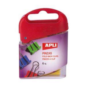 caja 6 pinza pala abatible 19mm colores surtidos apli