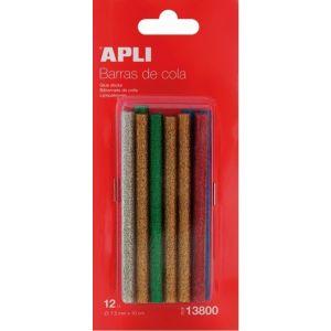 Blister 12 recambios barra silicona 7,5mm glitter colores  surtidos