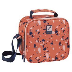 Bolsa isotermica porta alimentos con recipientes terrazzo naranja 23x20x11cm