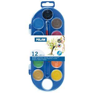 Estuche plastico 12 pastillas de acuarela + 1 pincel colores surtidos milan