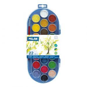 Estuche plastico 22 pastillas de acuarela + 1 pincel colores surtidos milan