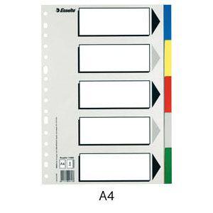Bolsa separadores a4 multitalador con 5 pestañas de colores pvc esselte