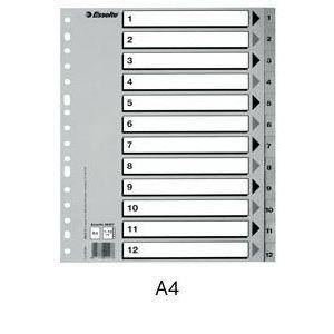 Bolsa indices numericos 1-12 a4 multitaladro polipropileno 125 micras