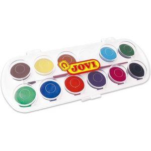 Estuche plastico 12 acuarelas jovi colores surt. + pincel