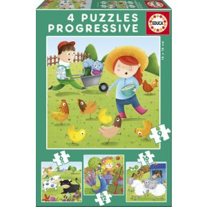 Puzzles progresivos 6-9-12-16 animales de la granja