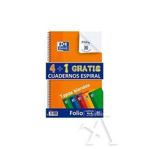 Pack 4+1 cuaderno espiral fº 80h 90g. cuad.4x4 c/m colores tendencia tapa blanda