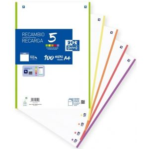 Recambio multicolor a4 100h 90g 4 taladros liso 5 colores de banda