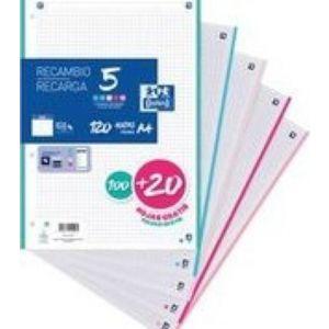 Recambio 5 multicolor a4 100+20h 90g 4 taladros cuadricula 5x5 con 5 colores de banda pastel