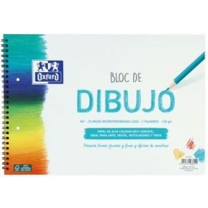 BLOC DIBUJO ESPIRAL LISO 2 TALADROS A4+ 20H 130G. OXFORD