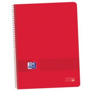 Paq/5 bloc A4+ 80hojas 90g. cuadricula 5x5 europeanbook1 color rojo tapa de plastico