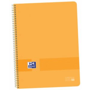 Paq/5 bloc A4+ 80hojas 90g. cuadricula 5x5 europeanbook1 color melocoton tapa plastico