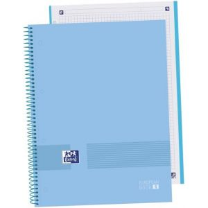 Paq/5 cuaderno espiral a4+ 80h 90g cuadricula 5x5 microperforado oxford &you colora periwinkle blue