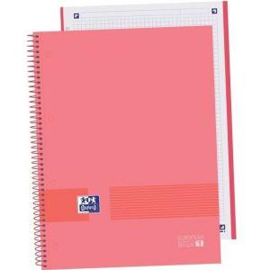 Paq/5 cuaderno espiral a4+ 80h 90g cuadricula 5x5 microperforado oxford &you color watermelon