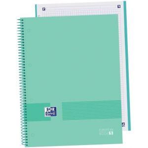 Paq/5 cuaderno espiral A4+ 80h 90g cuadricula5x5 microperforado oxford&you color soft mint green