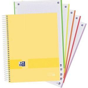 Paq/5 cuaderno espiral A4+ 120h 90g cuadricula 5x5 microperforado oxford &you colores surtidos