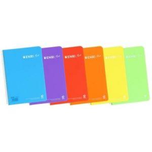 Paq/5 cuaderno espiral 4º 80h 90g. cuad.4x4 c/m enri plus tapa plastico colores pastel