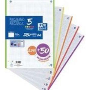 Recambio 5 multicolor A4 200+50h 90g 4 taladros cuadricula 5x5 con 5 colores de banda vivos