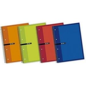 Paq/5 cuaderno espiral microperforado a5+ 140h 60g. cuad.5x5 multiasignatura colores surtidos
