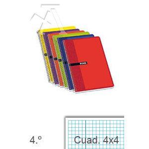 Paq/10 cuaderno espiral 4º 80h 60gr cuad.4x4 tapa blanda