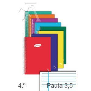 Paq/10 cuaderno espiral 4º 80h 60g. pauta 3.5 c/m tapa carton pacsa