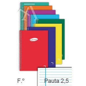 Paq/10 cuaderno espiral fº 80h 60g. pauta 2.5 c/m tapa carton pacsa