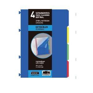 Bolsa separadores removibles a4 extra-fuerte 4 pestañas para notebook