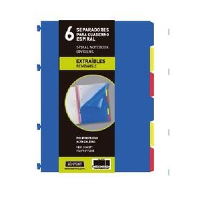 Bolsa separadores removibles a4 extra-fuerte 6 pestañas para notebook