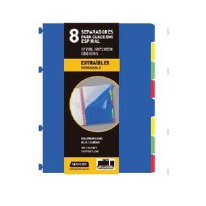 Bolsa separadores removibles a4 extra-fuerte 8 pestañas para notebook
