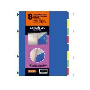 Bolsa separadores removibles a4 extra-fuerte 8 pestañas para carpeta de fundas espiral