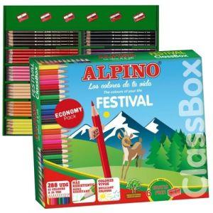 Classbox 288 lapices colores alpino festival + rotuladores alpino 12