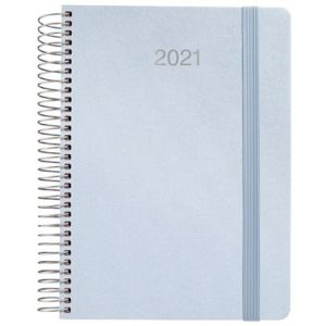 Agenda anual 2021 metalic azul tela dia pagina 15x21